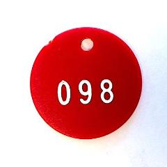 "Round Plastic Tags, 1.5"" Diameter, Numbered"