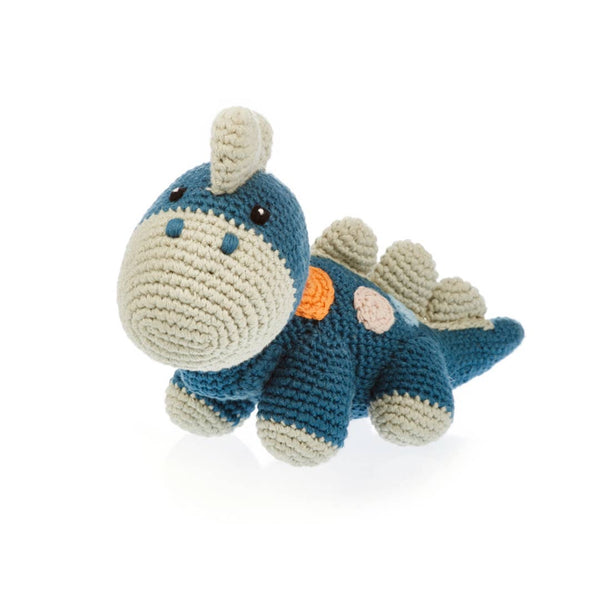 Pebble - Petrol Blue Organic Dino Rattle