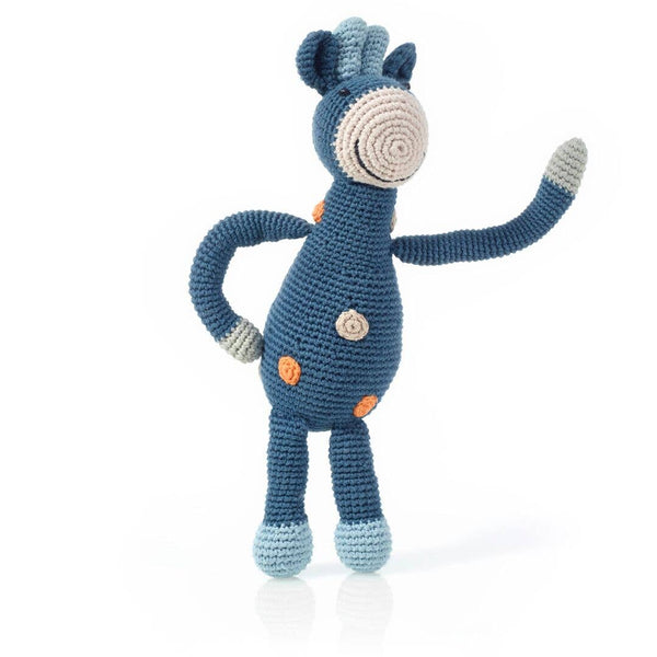 Pebble - Blue Organic Giraffe Rattle