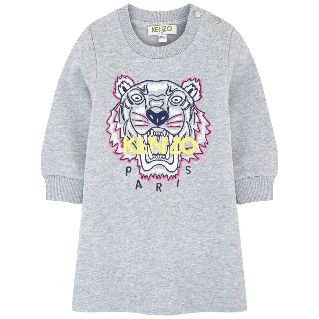 Kenzo Kids Sweatshirt dress with embroidered Tiger