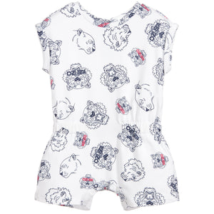 Kenzo Kids White Tiger & Friends Playsuit