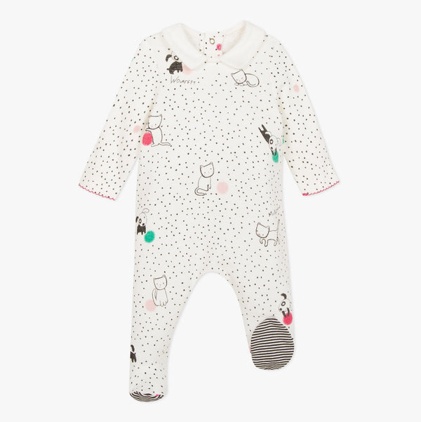 Cat printed knit footie pajamas Raining Cats & Dogs