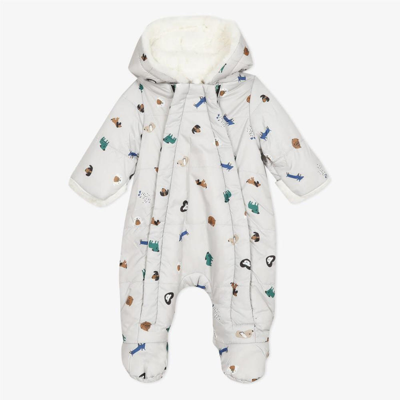 Lined white cats and dogs printed snowsuit Raining Cats & Dogs