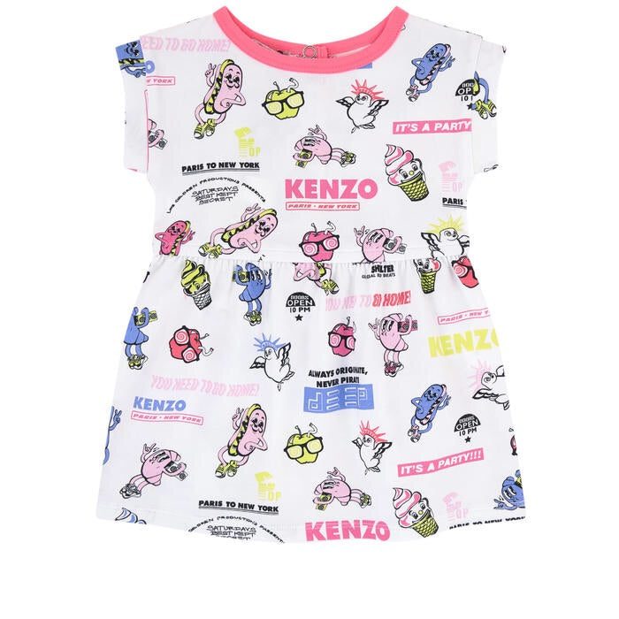 Kenzo Kids Printed dress and matching bloomers - Food Fiesta