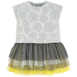 Kenzo Kids Tiger jacquard and tulle dress