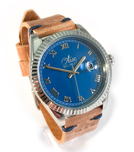 AWC BELFAST MARITIMER (SILVER BLUE FACE & DISTRESSED TAN LEATHER)