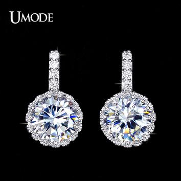 26f14c5807f UMODE Brand Brincos Multi Prongs Crystal Stud Earrings For Women White Gold  Color Round CZ Stone