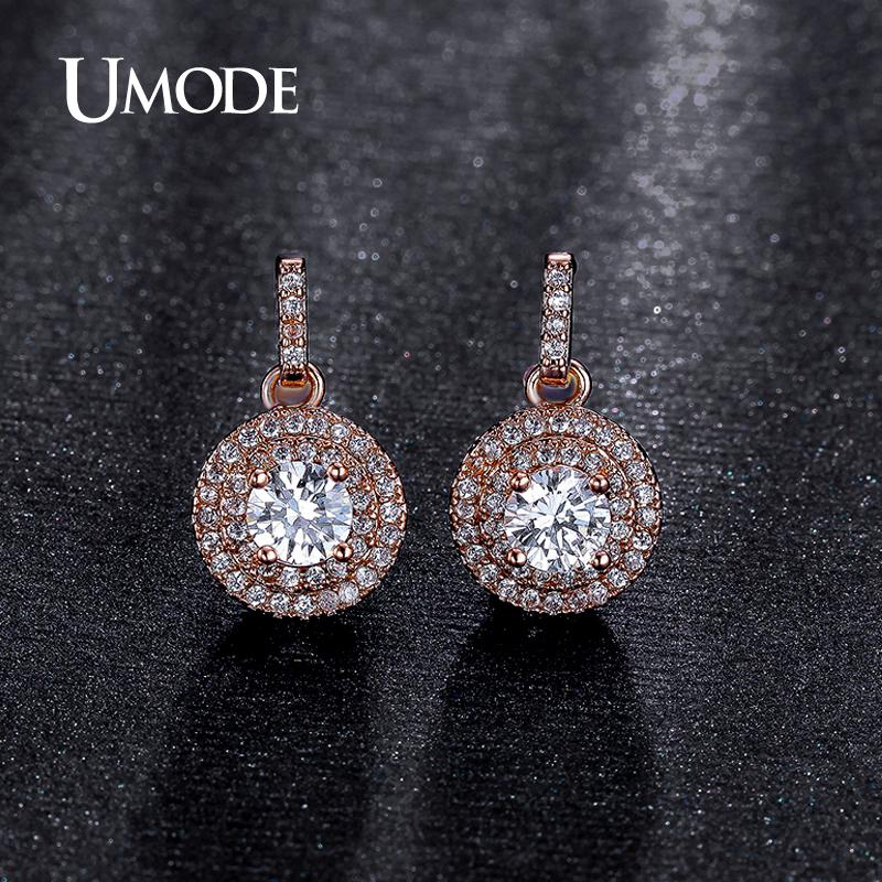 8d958b15f51 UMODE Fantastic Halo 0.5ct CZ simulated CZ Stone Rose Gold Color Dangle  Drop Earring Jewelry