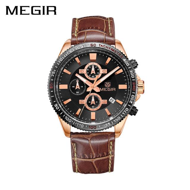 56cce1b9621 MEGIR Men Business Watch Top Brand Luxury Quartz Watches Leather  Chronograph Army Military Watch Clock Men Relogio Masculino