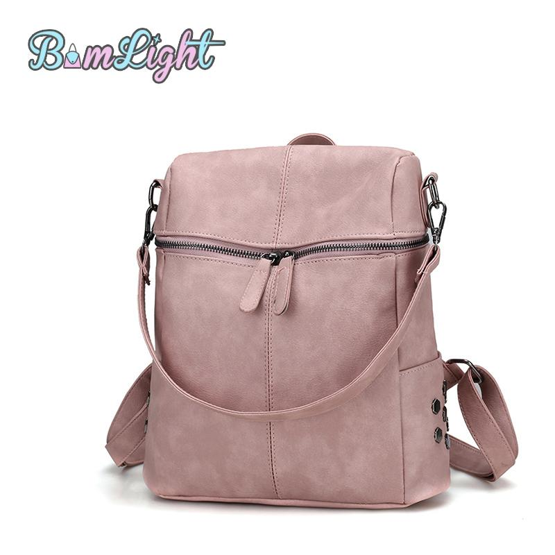 Bomlight Simple Style Backpack Women PU Leather Backpacks For Teenage Girls School  Bags Fashion Vintage Solid ca73ba906a
