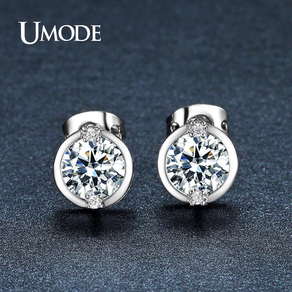 9f538619375 UMODE New CZ Stone Big Round Crystal Stud Earrings for Women Wedding White  Gold Color Fashion