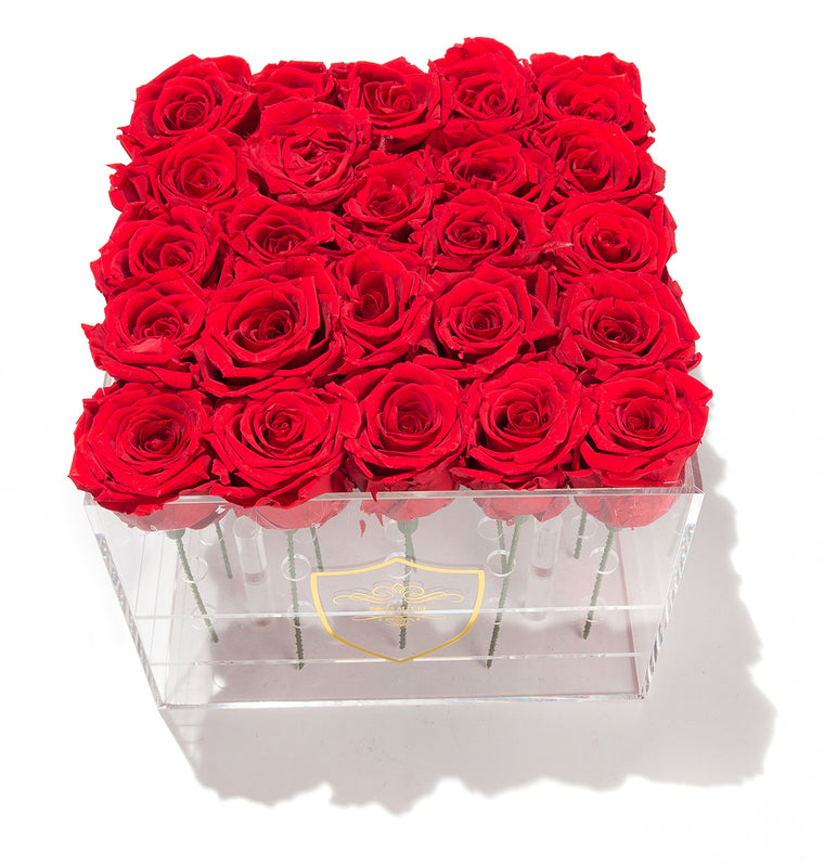 Medium Square Acrylic Box - 25 Roses