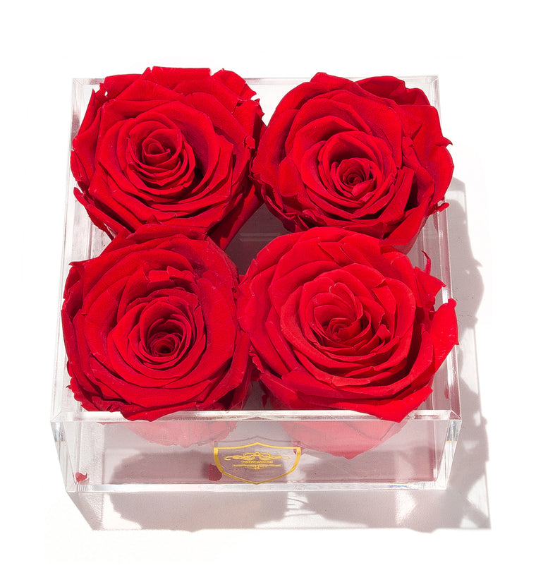 Small Square Acrylic Box - 4 Roses