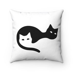 Two Cats Spun Polyester Square Pillow