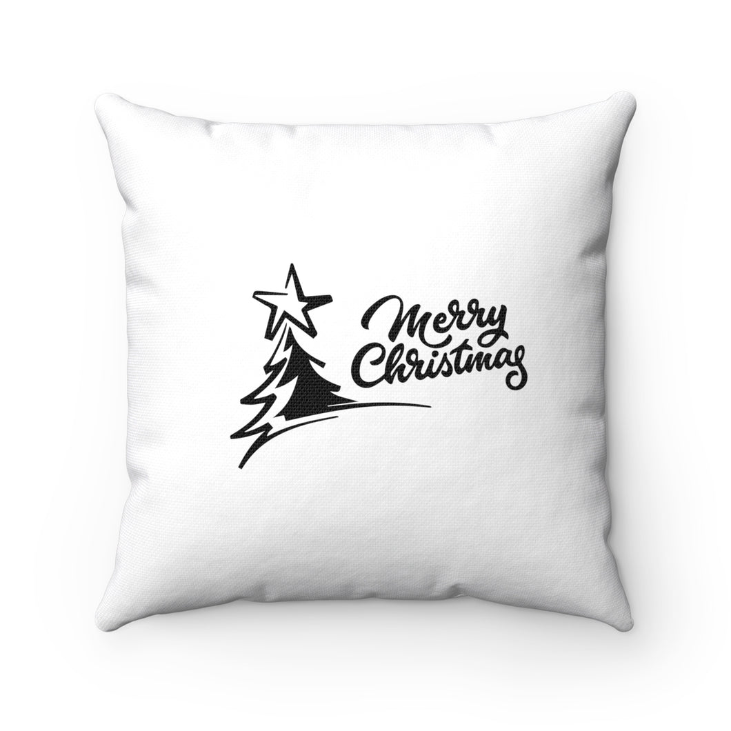 Merry Christmas Spun Polyester Square Pillow
