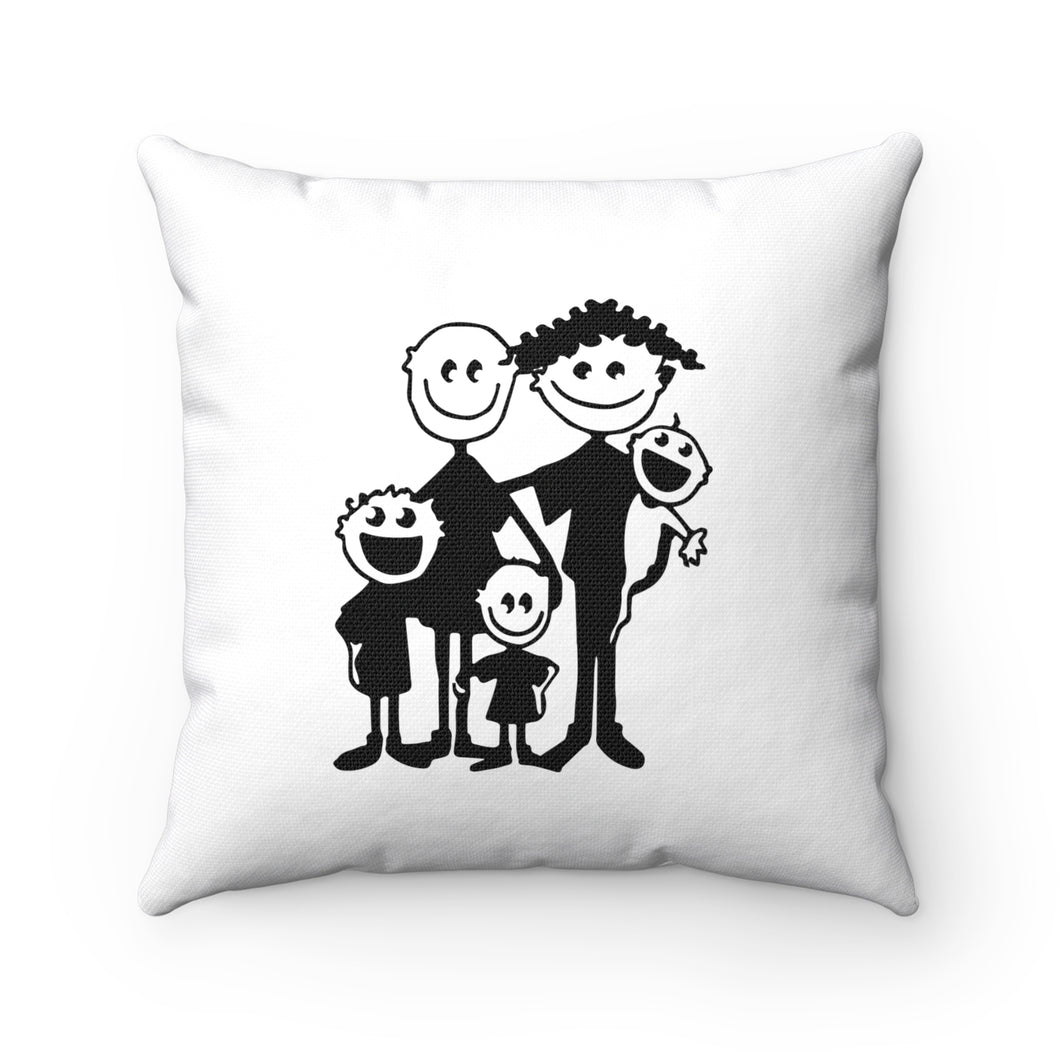 Happy Family Spun Polyester Square Pillow