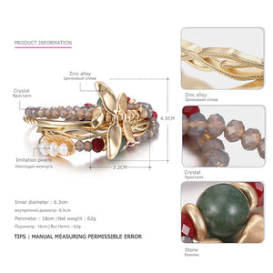 Stacked Dragonfly Bracelets & Bangles  with Crystal Semi-precious Stones & Pearls