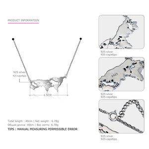 World Map Necklace Sterling Silver