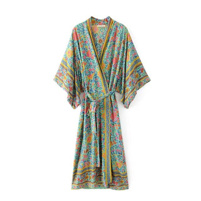 Boho wrap robe dress