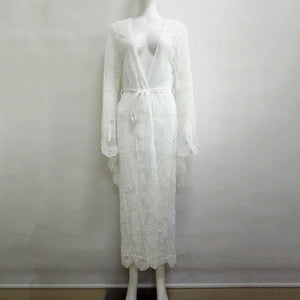 Open lace robe