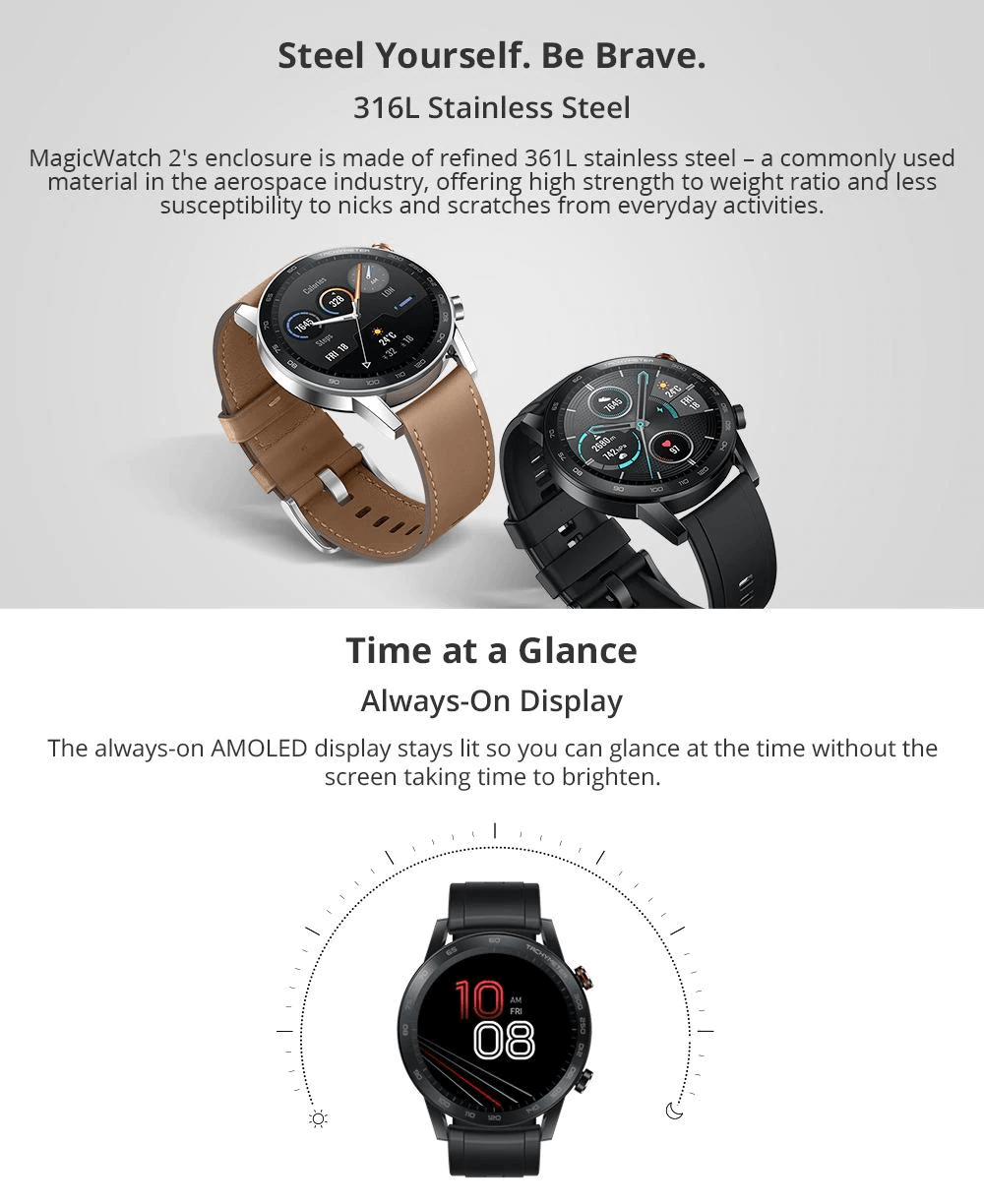 Huawei Honor Magic Watch 2 Features Steel Body
