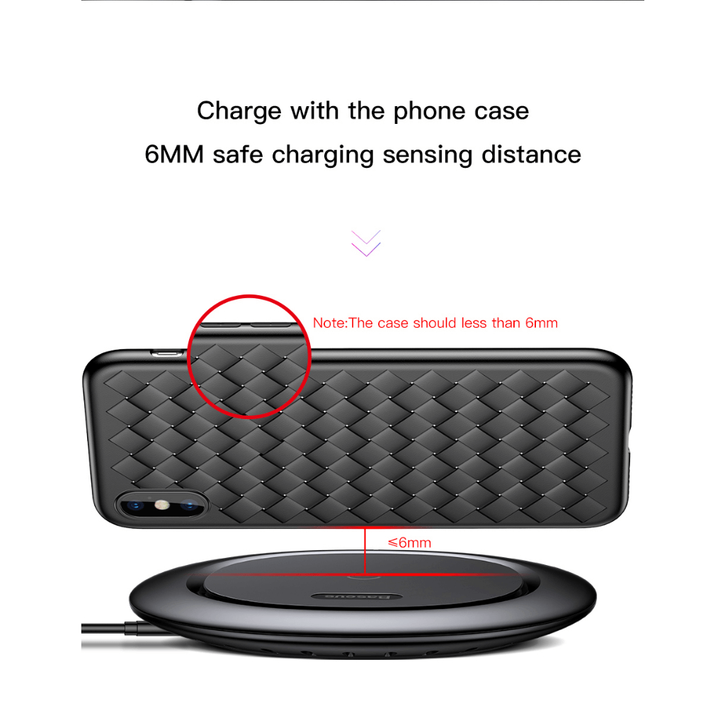 Baseus UFO Qi Standard Wireless Charger with Charges even with  Phone case