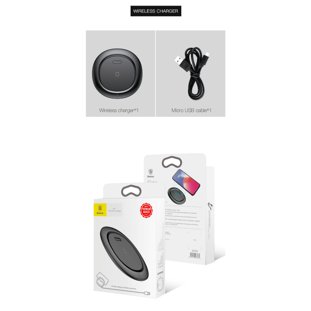 Baseus UFO Qi Standard Wireless Charger with cable Packaging & Contents