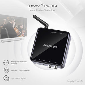 BlitzWolf® Bluetooth Receiver Transmitter Audio 2 in 1 Adapter - Long Range 164ft