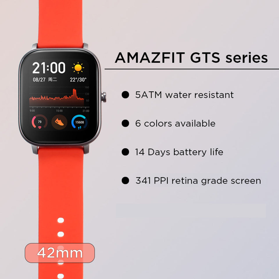 "Global Version Amazfit GTS Smart Watch 1.65"" AMOLED 5 ATM Waterproof 14-day Battery Life 12 Sports Modes Bluetooth Watch"