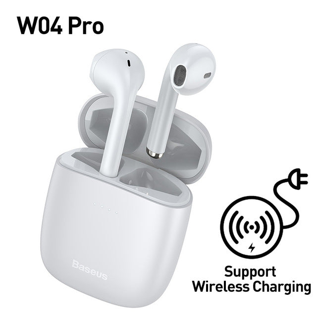 TWS Bluetooth 5.0 Wireless Stereo Touch Control Ear Pods with Wireless Charging - White