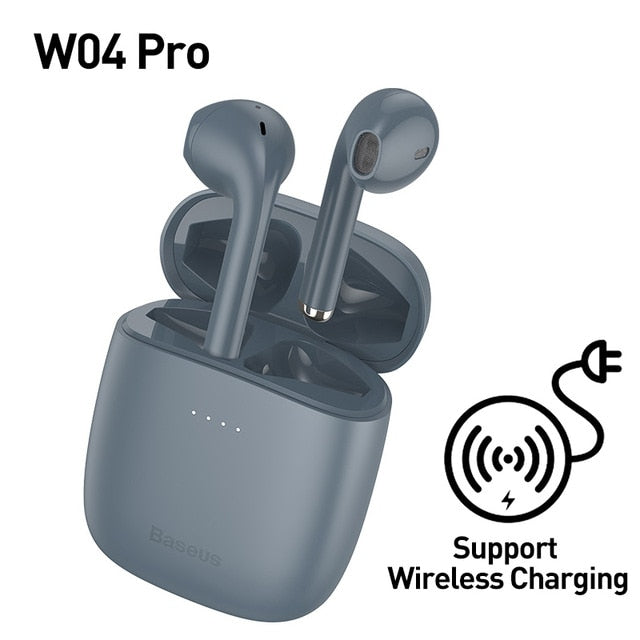 TWS Bluetooth 5.0 Wireless Stereo Touch Control Ear Pods with Wireless Charging - Grey