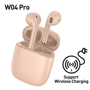 TWS Bluetooth 5.0 Wireless Stereo Touch Control Ear Pods with Wireless Charging - Pink