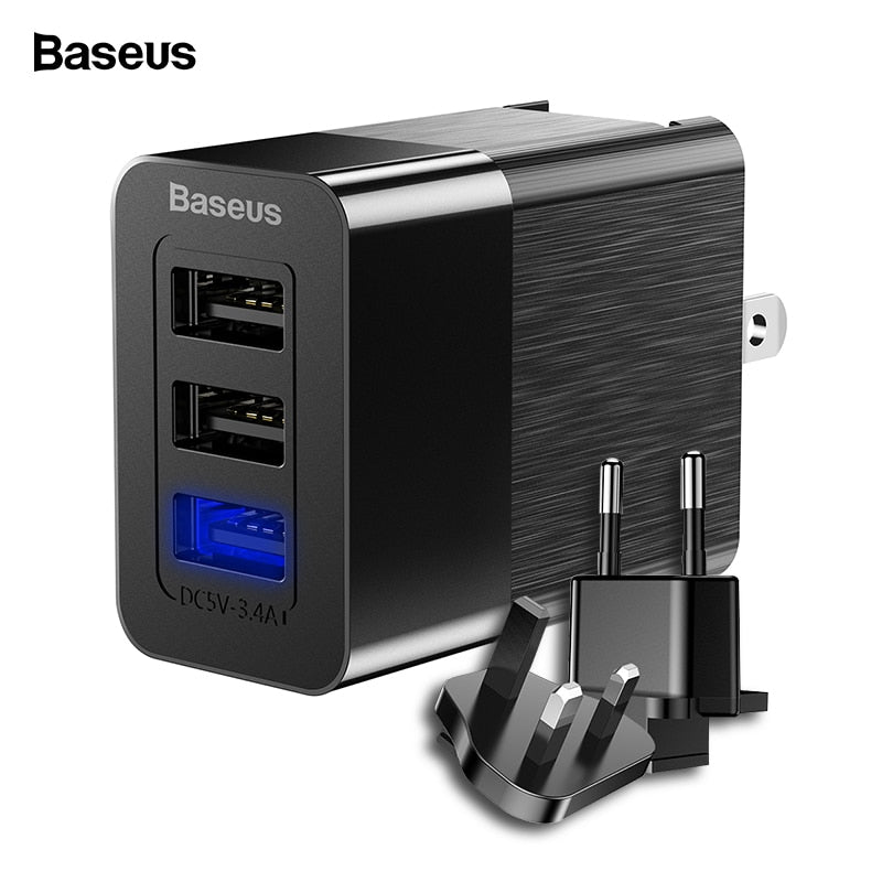 Baseus 3 Port Travel USB Charger 3 in 1 - UK EU US Plug 2.4A