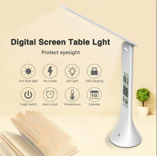 LED Lamp Foldable & Dimmable With Calendar, Temperature & Alarm Functions