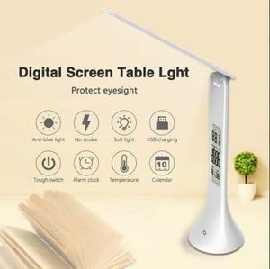 Foldable & Dimmable Touch Table Lamp with Calendar Temperature Alarm Clock - pepmyphone