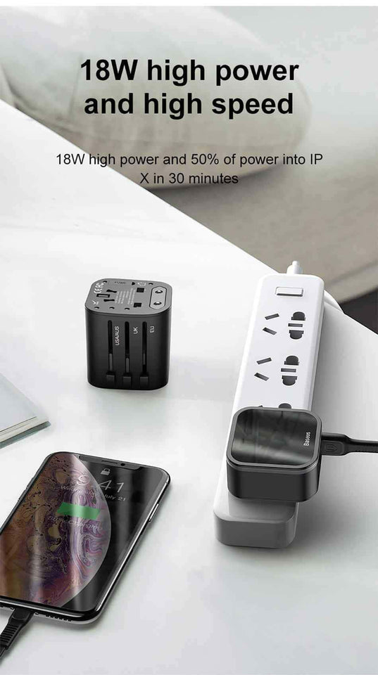 Baseus 18W World Travel Charger with Quick Charge 3.0 & Power Delivery - pepmyphone