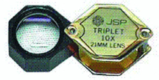 Hexagon 10X Triplet Loupe 20.5mm - Goldtone/Black