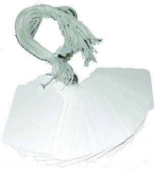 "White Plastic String Tag 1/2"" x 1"""
