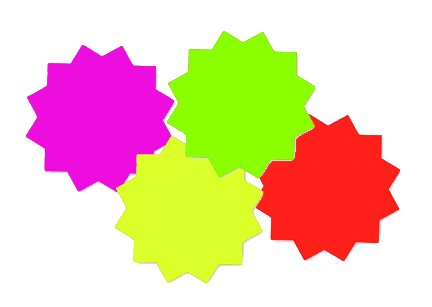 "3"" Starburst 4 Color Assortment (100 Pack)"