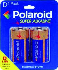 Polaroid 2 Pack D Alkaline Battery
