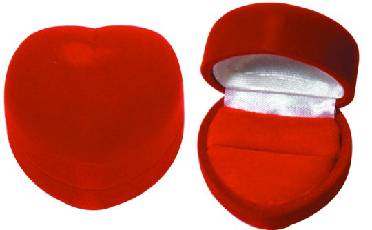 M&M CA72111R Heart Shaped Velour Ring Box - Red