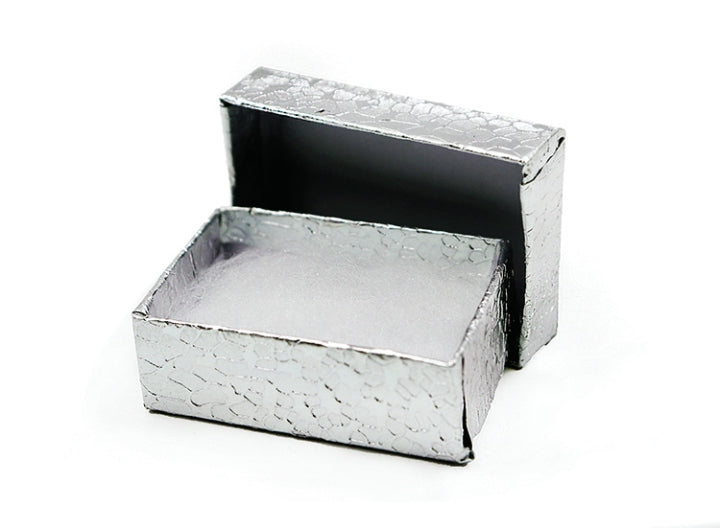 "M&M 0011SI Silver Cotton Filled Box 1.75"" X 1-1/8"" X 5/8"""