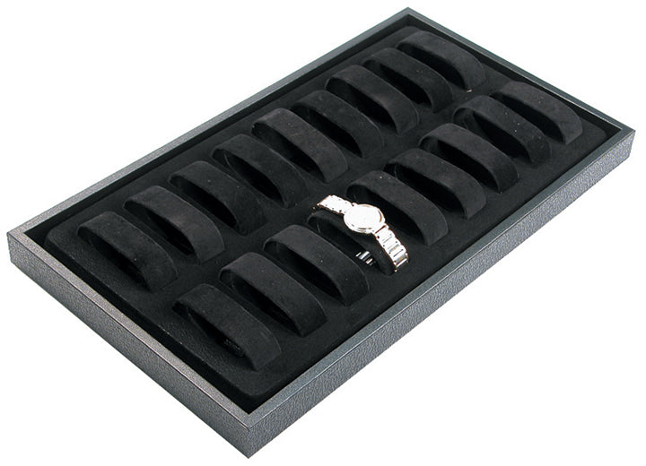 M&M 217-P Watch Tray with 18 Velvet Collars - Black