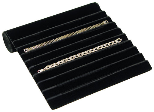 M&M 221-BV-BK Velvet 9 Slot Bracelet Display - Black