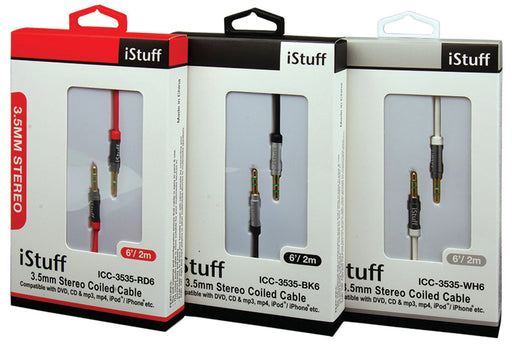 iStuff 3.5mm Stereo Coiled Cable 6' Black