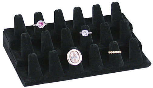 M&M 245-18BK  18 Finger Ring Display - Black Velvet