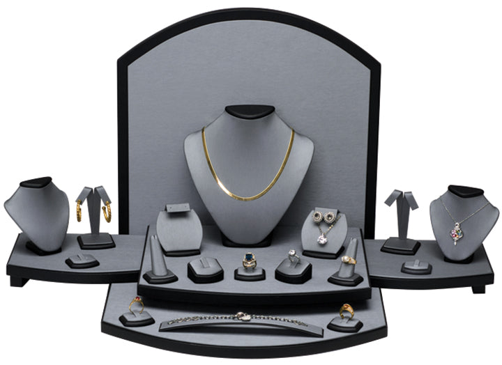 M&M SET54 30 Piece Steel Gray Faux Leather Display Set