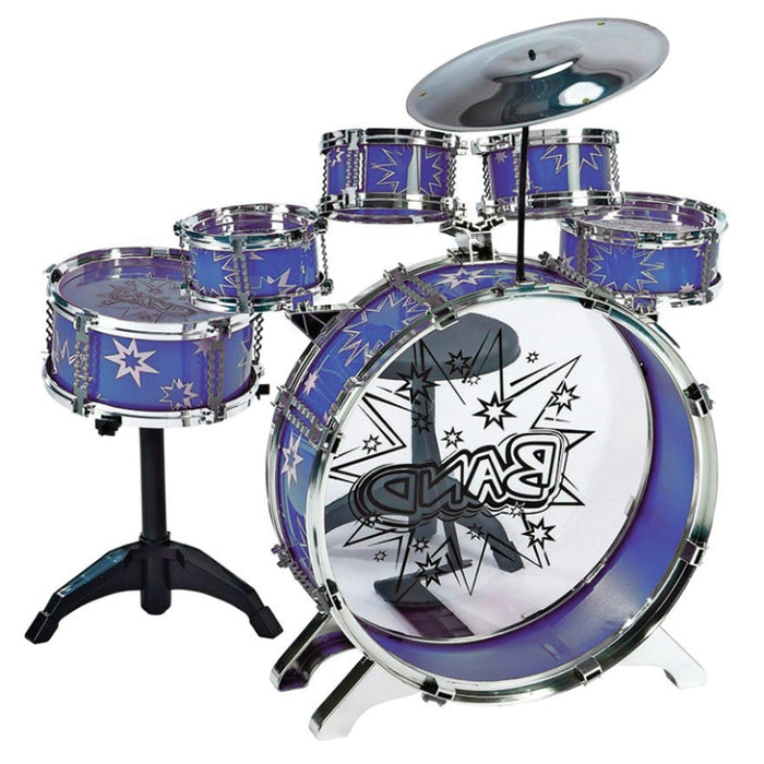 M&M 28875A-BL 7 Piece Toy Drum Set - Blue