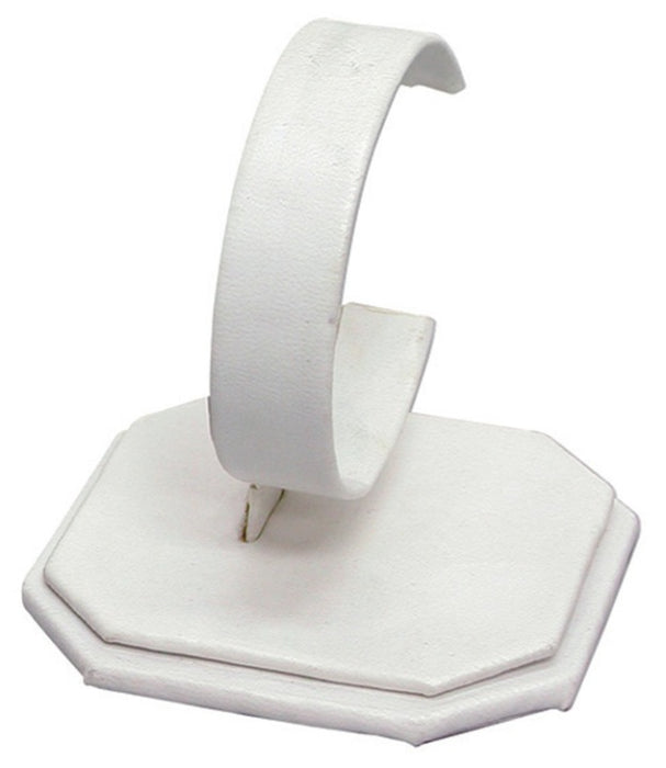 "M&M 101LW 3-3/8"" Faux Leather Watch Display Stand - White"