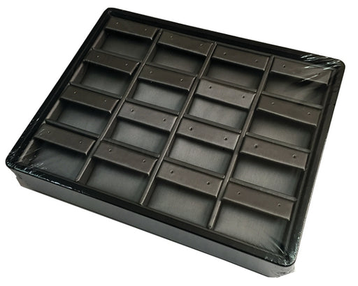 M&M ET916-87R Stackable 16 Pair Earring Tray - Black & Steel Grey